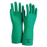 Ansell Solvex® Nitrile Gloves - Solvex Nitrile Gloves, Gauntlet Cuff, Cotton Flock Lined, 15 mil, Size 9, Green - 012-37-175-9 - Ansell