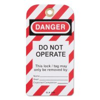Honeywell North® Lockout Tagouts - Lockout Tagouts, 3 in W x 6 in L,  Grommeted, Do Not Operate - 068-ELA290G/1 - Honeywell