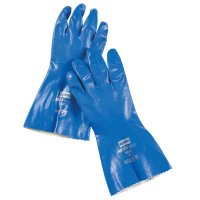 Honeywell North® Nitri-Knit Supported Nitrile Gloves - Nitri-Knit Supported Nitrile Gloves, Pinked Cuff, Interlock Lined, Size 9, Blue - 068-NK803/9 - Honeywell