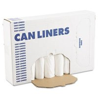 Boardwalk Linear Low-Density Can Liners - EH-Grade Can Liners, 24 x 32, 12-16gal, .4mil, White, 25 Bags/Roll - Boardwalk - 088-2432EXH