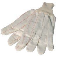 Anchor Brand 1000 Series Canvas Gloves - 1000 Series Canvas Gloves, Large, White w/Red Stripe, Knit-Wrist Cuff - 101-1060 - Anchor Products
