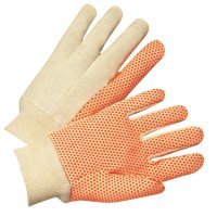 Anchor Brand Dotted Canvas Gloves - Dotted Canvas Gloves, Cotton Canvas, Large, White/Orange - 101-1090 - Anchor Products
