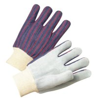 Anchor Brand Leather Palm Knit Wrist Cotton Gloves - Leather Palm Knit Wrist Cotton Gloves, Men's, Cowhide, Pearl Gray, Striped Back - 101-2010 - Anchor Products