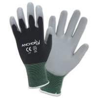 Anchor Brand PU Palm Coated Gloves - PU Palm Coated Gloves, Medium, Black/Gray - 101-6080-M - Anchor Products