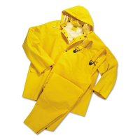 Anchor Brand Rainsuits - Rainsuit, Jacket w/Hood, Overalls, 0.35 mm PVC/Poly, Yellow, 14 1/4 in Small - 101-9000-S - Anchor Products