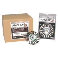 Anchor Brand Knot Wheel Brushes - Knot Wheel Brush, 4 in D x 5/8 in W, .014 in Stainless Steel Wire - 102-4K58S - Anchor Products