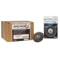 Anchor Brand Crimped Wheel Brushes - Crimped Wheel Brushes, 3 in D x 1/2 in W, 0.014 in, Stainless Steel - 102-CFX-3SPOP - Anchor Products