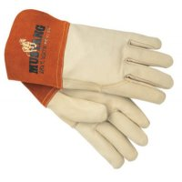 MCR Safety Mustang Welding Gloves - Mig/Tig Welders Gloves, Premium Grade Grain Goatskin, Large, Beige - 127-4950L - MCR Safety