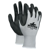 MCR Safety Foam Nitrile Gloves - Foam Nitrile Gloves, Large, Black/Gray - 127-9673L - MCR Safety