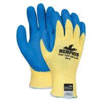 MCR Safety Flex Tuff® Latex Dipped Gloves - Flex Tuff Latex Dipped Gloves, Large, Blue/White/Yellow - 127-9687L - MCR Safety