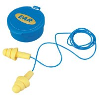 3M™ Personal Safety Division E-A-R™ Ultrafit® Earplugs - E-A-R Ultrafit Earplugs, Elastomeric Polymer, Yellow, Corded, Carrying Case - 247-340-4002 - 3M