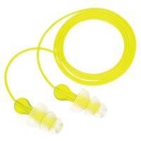 3M™ Personal Safety Division Tri-Flange™ Earplugs - Tri-Flange Earplugs, Elastomeric Polymer, Clear, Corded - 247-P3000 - 3M