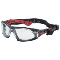 Bolle Rush+ Series Safety Glasses - Rush+ Series Safety Glasses, Clear Lens, Anti-Fog/Anti-Scratch, Black/Red Temple - 286-40252 - Bolle