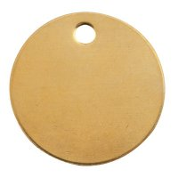 C.H. Hanson® Brass Tags - Brass Tags, 18 gauge, 1 1/2 in Diameter, 3/16 in Hole, Round - 337-1098B - C.H. Hanson®