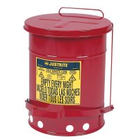 Justrite Red Oily Waste Cans - Red Oily Waste Cans, Foot Operated Cover, 21 gal, Red - Justrite - 400-09700
