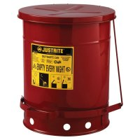 Justrite Red Oily Waste Cans - Red Oily Waste Cans, Foot Operated Cover, 10 gal, Red - Justrite - 400-09300