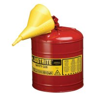 Justrite Type I Safety Cans - Type I Safety Cans, Flammables, 5 gal, Red, Funnel - 400-7150110 - Justrite