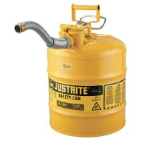 "Justrite Type II AccuFlow™ Safety Cans - Type II AccuFlow Safety Cans, Diesel, 5 gal, Yellow, 1"" Hose - 400-7250230 - Justrite"