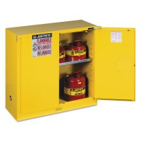 Justrite Yellow Safety Cabinets for Flammables - Yellow Safety Cabinets for Flammables, Self-Closing Cabinet, 30 Gallon, 2 Doors - 400-893020 - Justrite