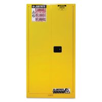 Justrite Yellow Safety Cabinets for Flammables - Yellow Safety Cabinets for Flammables, Self-Closing Cabinet, 60 Gallon - 400-896020 - Justrite