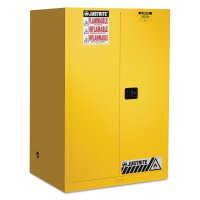 Justrite Yellow Safety Cabinets for Flammables - Yellow Safety Cabinets for Flammables, Self-Closing Cabinet, 90 Gallon - 400-899020 - Justrite