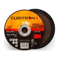 3M™ Abrasive Cubitron™ II Depressed Center Grinding Wheels - Cubitron II Depressed Center Grinding Wheels, Ceramic, 6 in Dia, 7/8 in Arbor - 405-076308-64314 - 3M