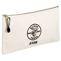 Klein Tools Zipper Bags - Zipper Bags, 1 Compartment, 12 in X 7 1/2 in, Canvas, White - Klein Tools - 409-5139