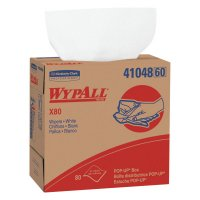 WypAll* X80 Cloths - WypAll X80 Towels, Pop-Up Box, Cotton White, 80 per box - 412-41048 - Kimberly-Clark Professional