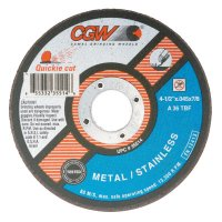 CGW Abrasives Quickie Cut™ Extra Thin Cut-Off Wheels, Type 1 - Cut-Off Wheel, Type 1, 4 1/2 in Dia, .045 in Thick, 36 Grit Alum. Oxide - 421-35514 - CGW Abrasives