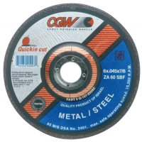 CGW Abrasives Quickie Cut™ Extra Thin Cut-Off Wheels, Type 27 - Cut-Off Wheel, Type 27, 6 in Dia, .045 in Thick, 60 Grit Zirconia/Alum. - 421-45007 - CGW Abrasives