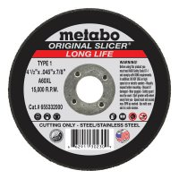 Metabo Original Slicer Cutting Wheels - Slicer Cutting Wheel, Type 1, 4 1/2 in Dia, 1/16 in Thick, 36 Grit Alum. Oxide - 469-55332 - Metabo