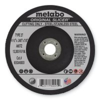 Metabo Original Slicer Cutting Wheels - Slicer Cutting Wheel, 4 1/2 in Dia, .045 in Thick, 60 Grit Alum. Oxide - 469-55346 - Metabo