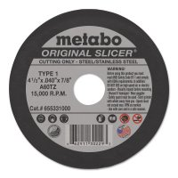 Metabo Original Slicers - Original Slicers, 4 1/2 in, 7/8 in Arbor, 60 Grit, 15,500 rpm - Metabo - 469-655331000