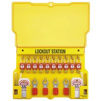 Master Lock Safety Series™ Lockout Stations with Key Registration Cards - Safety Series Lockout Stations with Key Registration Card, 22in, Zenex 10-Lock - 470-1483BP410 - Master Lock