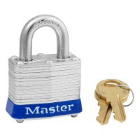 Master Lock Steel Body Safety Padlocks - Steel Body Safety Padlocks, 9/32 in Diam., 3/4 in L X 5/8 in W, Blue - Master Lock - 470-3BLU