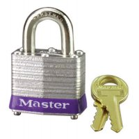 "Master Lock No. 3 Laminated Steel Pin Tumbler Padlocks - No. 3 Laminated Steel Pin Tumbler Padlocks,9/32"" Dia, 3/4""L X 5/8""W, Silver/Blue - Master Lock - 470-3D"