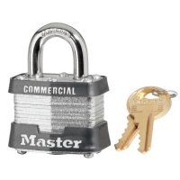 Master Lock No. 3 Laminated Steel Pin Tumbler Padlocks - No. 3 Laminated Steel Pin Tumbler Padlocks, 9/32 in Diam., 1 1/2 in L X 5/8 in W - Master Lock - 470-3DLF