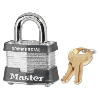 Master Lock Laminated Steel Pin Tumbler Padlocks - Laminated Steel Pin Tumbler Padlocks, 9/32 in Dia., 1 in L x 5/8 in W, Silver - Master Lock - 470-3KA-3303