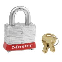 Master Lock Steel Body Safety Padlocks - Steel Body Safety Padlocks, 9/32 in Diam., 3/4 in L X 5/8 in W, Red - Master Lock - 470-3RED