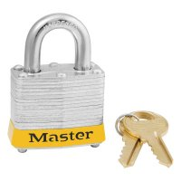 Master Lock Steel Body Safety Padlocks - Steel Body Safety Padlocks, 9/32 in Diam., 3/4 in L X 5/8 in W, Yellow - Master Lock - 470-3YLW