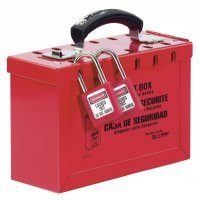 Master Lock Group Lock Boxes - Group Lock Box, 9 1/4 in L x 6 in H x 3 3/4 in W, Steel, Red - Master Lock - 470-498A