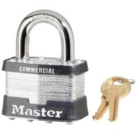 "Master Lock No. 5 Laminated Steel Pin Tumbler Padlocks - No. 5 Laminated Steel Pin Tumbler Padlocks, 3/8""Dia, 1""L X 15/16""W, Silver/Black - Master Lock - 470-5DCOM"
