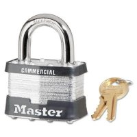 Master Lock Laminated Steel Pin Tumbler Padlocks - Laminated Steel Pin Tumbler Padlocks, 3/8 in Dia., 15/16 in L x 3/4 in W, Silver - Master Lock - 470-5KA-A383