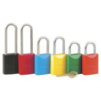 "Master Lock Pro Series® High Visibility Aluminum Padlocks - Pro Series High Visibility Aluminum Padlocks, 1/4""Dia, 1 1/16""L X 25/32""W, Red - 470-6835RED - Master Lock"