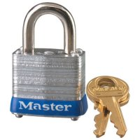 "Master Lock No. 7 Laminated Steel Pin Tumbler Padlocks - No. 7 Laminated Steel Pin Tumbler Padlocks, 3/16"" Dia, 9/16""LX1/2""W, Keyed Diff - Master Lock - 470-7D"