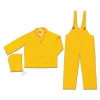 River City Classic 3-Piece Flame Resistant Rain Suits - Flame Resistant Rain Suit, Jacket/Hood/Pants, 0.35 mm PVC/Poly, Yellow, X-Large - 611-FR2003XL - MCR Safety