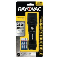 Rayovac Indestructible Series Flashlights - Indestructible Series Flashlight, 3 AAA, 20 to 250 Lumens, Black - 620-DIY3AAA-BE - Rayovac
