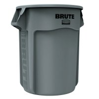 Rubbermaid Commercial BRUTE® Round Containers - Brute Round Containers, 55 gal, Plastic, Gray - 640-2655-GRAY - Newell Rubbermaid™
