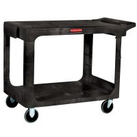 Rubbermaid Commercial Heavy-Duty Flat Shelf Utility Carts - Heavy-Duty Flat Shelf Utility Carts, 500 lb, 44 X 25 1/4 X 38 1/8h, Black - 640-4525-BLA - Newell Rubbermaid™