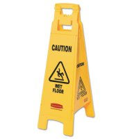 Rubbermaid Commercial Floor Safety Signs - Floor Safety Signs, Caution Wet Floor, Yellow, 25X11 - Newell Rubbermaid™ - 640-6112-77-YEL
